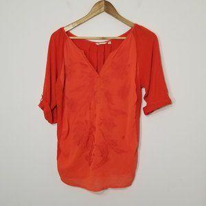 Max Cocos | Orange Blouse V Neckline 3/4 Sleeves L